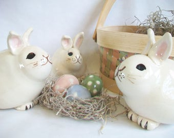 Bunny Bank -  Easter Gift - Newborn Baby / Child Gift -- Handmade, Wheel thrown - OOAK -- Ready to Ship - Actual Bunny Banks