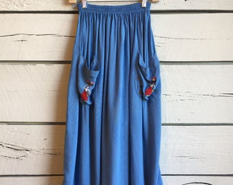 Vintage 1950s sky blue embroidered skirt • 50s skirt