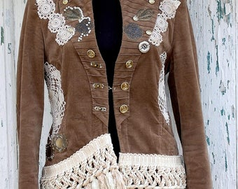 Jacket, steampunk jacket, tassel jacket, upcycled clothing, tatter punk, victorian, Tim Burton, size medium, US 8, beaded, pirate,vampire