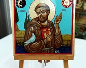 Saint Francis with dove painting, San Francesco d'Assisi handpainted original icon painting, 8x8 inches