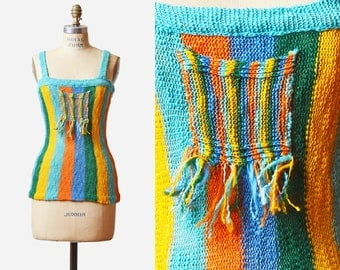 Vintage 70s Hippie Fitted TANK Top SHEER Tank Knit Boho Blouse / 1970s Fringe Festival Bohemian Blue Green Orange Striped Extra Small xs