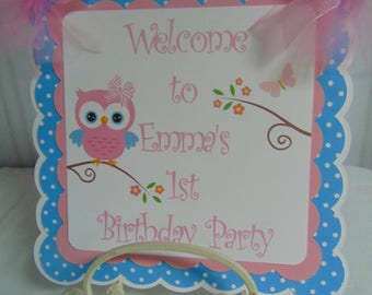 Owl 1st Birthday Welcome door  banner - whoo's turning 1 banner,  party decoration, Welcome sign
