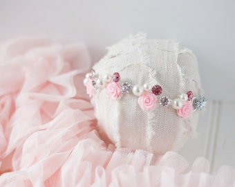 Pink and silver rhinestone and pearl flower headband newborn