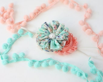 Spring Special - coral aqua rosette chiffon flower spring headband bow