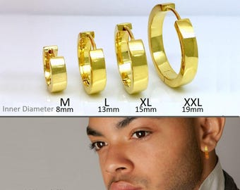 Gold hoop earrings,  solar yellow gold hoops, men's earrings, gold hoop earrings small, gold hoop earrings medium, gold hoop earrings large