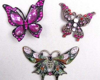3 vintage figural butterfly pendants enamel glass stones 1980s pendant supplies vintage jewelry findings (AAD)