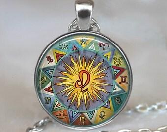 Bohemian Leo necklace, Boho Leo pendant Zodiac pendant Zodiac necklace Zodiac jewelry Leo jewelry astrology key chain key fob