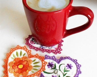 Heart Coasters Machine Embroidery Designs Sew in the Hoop