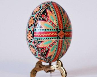 Pysanka egg with cross keepsake for baptism Christmas gift and ornament traditional gift made in Canada 100 percent handmade batik art egg
