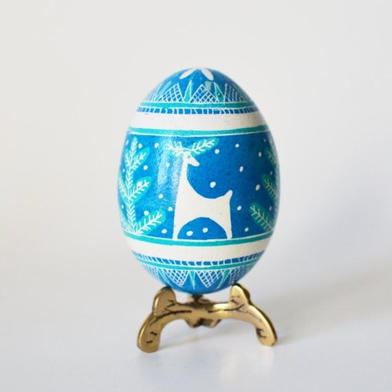 Pysanka Christmas gift ornament blue egg reindeer perfect gift for Holiday gift exchange at work unique and inexpensive handmade