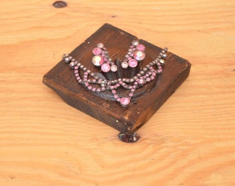 Vintage 50's Pink Rhinestone, Retro, Mid Century Necklace & Earnings Bold Cocktail Look
