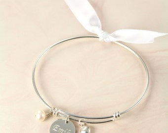 Bridesmaid Gift Bangle Bracelet Personalized, Wedding Jewelry 925 Sterling Silver