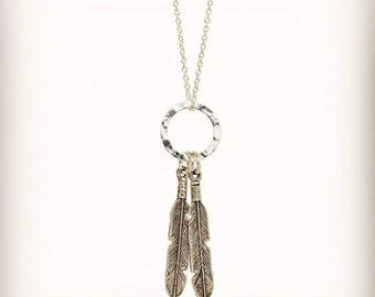 Feather Necklace Silver , Boho Style Jewelry , Bridesmaid Jewelry , Give Your Dreams Wings to Fly , 925 Sterling Silver