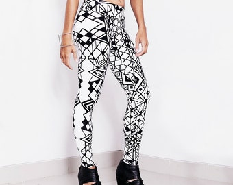 Black and White Print Leggings - Yoga Pants - Organic Yoga Clothing - Patterned Leggings - Geometric Leggings - Best Leggings - Organic Yoga