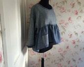 Washable Linen Tunic Washed Linen Blue Pin Stripe Shirt Hi Low Prairie Dress Lagenlook  OOAK Ready To Ship 46 Bust