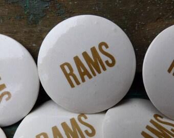 Vintage RAMS football button sports sport fan art craft supplies