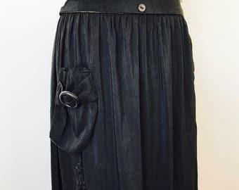 Antique Black Edwardian skirt with unique side pocket and fringe