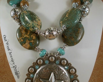 Western Necklace Set - Chunky Turquoise Howlite - Cowgirl Statement- Huge Star Concho Pendant
