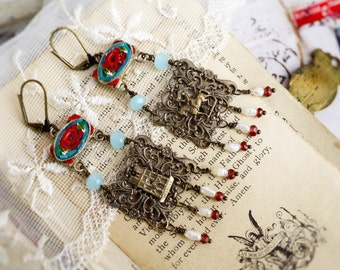 Paris Antiquity,Vintage Micro Mosaic,Vintage French Filigree,Pearls & Garnet Gemstones Altered Assemblage Earrings by Hollywood Hill