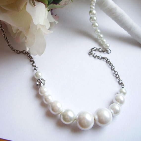 White pearl, chain and rhinestone beaded long chunky necklace