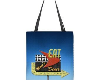 Retro tote bag, 50's diner sign, mom's diner, gift for mom