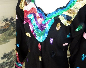 1980s Cachet Abstract Sequin Sweater sz M Made In Hong Kong Bright Jewel Tone Sequins 100% Wool