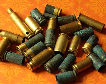 1/4 Pound of Mixed Sizes/Finishes/Drilled Holes Brass Bullet Shell Casings  for Bead Caps -Verdigris Spent Ammo Steampunk Jewelry