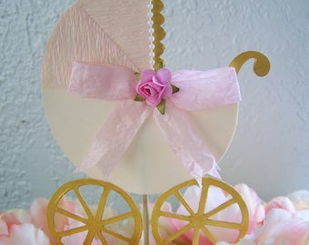 Baby Carriage Cake topper It's a girl Baby Shower