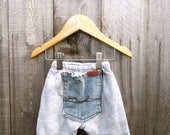 Baby Pants Sweatpants Upcycled Pants Newborn 0-3 Month Denim Pocket Recycled Denim Gray Kids Pants Elastic Waist Baby Bottom