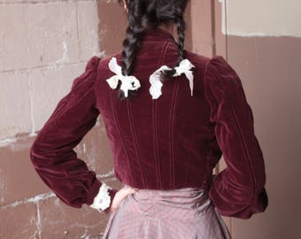 Antique Victorian Bodice Jacket // 1890s Maroon Velvet Corset Blouse with Lace Trim // Gibson Girl Puff Sleeve High Collar Jacket