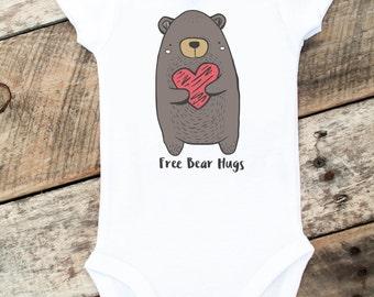 Valentine Onesies® For Boys, Bear Onesie, Free Bear Hugs Onesie, Woodland Onesie, Woodland Clothing, Baby Boy Bodysuit Shirt, Heart Onesie