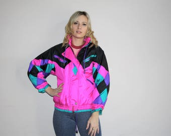 VTG 80s Neon Pink Harlequin Colorblock Ski Jacket Retro Winter Parka Coat - 1980s Puffer Jacket  - 80s Clothing - WV0062