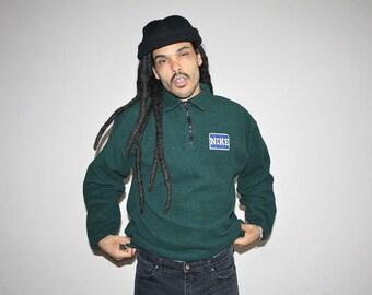 90s Vintage Nike Green Fleece Hip Hop Pullover Sweater - 1990s Nike - 90s Clothing - MV0039