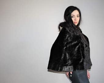Vintage 30s Dark Chocolate Brown Authentic Fur Art Deco Cape Coat - 1930s Fur Coats - 30s Clothing - WV0179