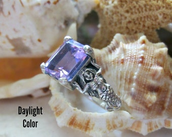 Zandrite Mermaid Ring Color Change Stone Sterling Silver 4.80g Size 9