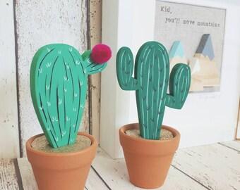 Wooden cacti, wooden cactus, shelfie, modern nursery, cacti decoration, cacti in terracotta pot