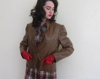 Vintage 1970s 70s Brown Leather Jacket /  1980s 80 Button Jacket Visions New York / Medium