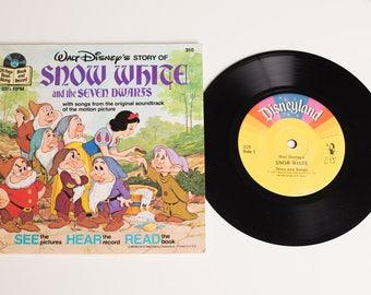 Snow White and the Seven Dwarfs Book & Record Set, 310, Walt Disney, Vintage 70s, Disneyland, Cartoon Movie Story, Soundtrack Songs, 1977