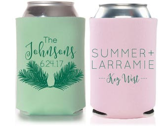 Beach Wedding Favors - Personalized Palm Fronds Tropical Can Coolers, Destination Wedding Favors for Guests,Summer Wedding Ideas