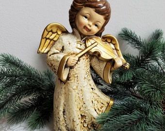 Vintage Angel Playing Violin Statue Retro Paper Mache Plaster Figurine, Gold Cream, Christmas Decor
