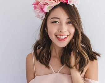pink asymmetrical flower spring racing fascinator // spring races flower crown headband, statement floral headpiece, melbourne cup, oaks day
