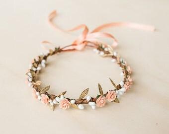 peach gold rose, leaf & berry flower crown // peach gold leaf crown / peach gold flower crown / peach orange gold / gold flower crown