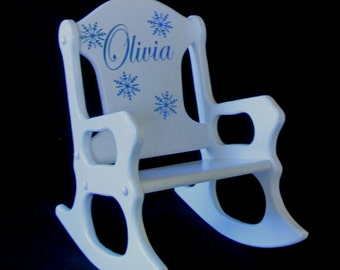 Personalized  Toddler Rocking Chair - frozen-glitter-snowflakes