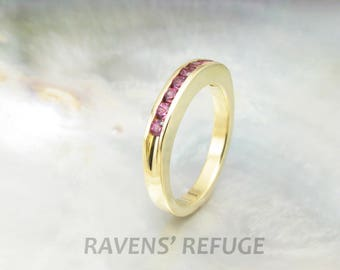 half eternity band in 18k yellow gold, channel set ring, artisan handmade