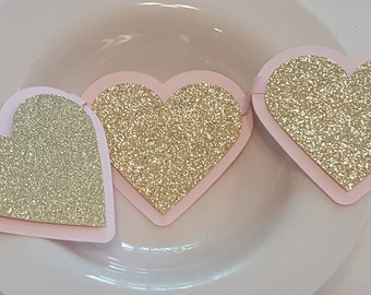 Pink and Gold Heart Garland, Banner, or Photo Prop for Birthday or Baby Shower, Little Sweetheart Theme. Handcrafted in 3-5 Business Days