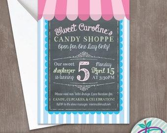 Candy Shoppe Invitation, Candy Shop Invitation, Birthday Party Printable Invite