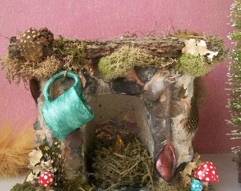 "SALE! Fairy Fireplace Fieldstone Miniature, Night Light w Flickering Candle, Moss, Stone, Mushrooms, Mug,Oak Mantle 6""Lx 5""Hx 4""D"