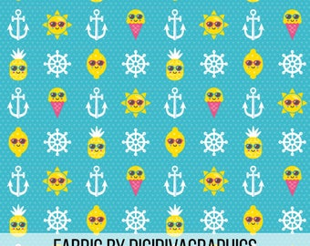 Hello Summer Fabric By The Yard - Cute Summer Lemon Pineapple Sun Sunglasses Friends Print in Yards & Fat Quarter