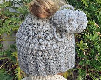 Messy Bun Beanie Hat Crochet Pattern - Messy Bun Hat - Crochet Pattern - Ponytail Hat Crochet Pattern - Child Messy Bun Hat Pattern