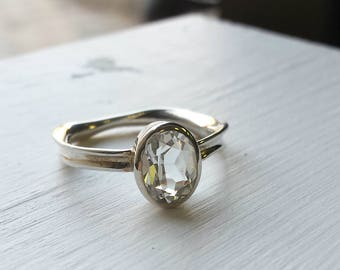 White Topaz Fluid Nature Ring in Sterling Silver - Oval Cut, Bezel, Nature Inspired
